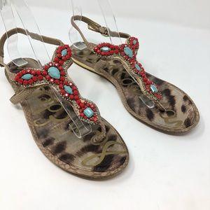 Sam Edelman Sandals 9.5 thong Shoes Red Blue Boho